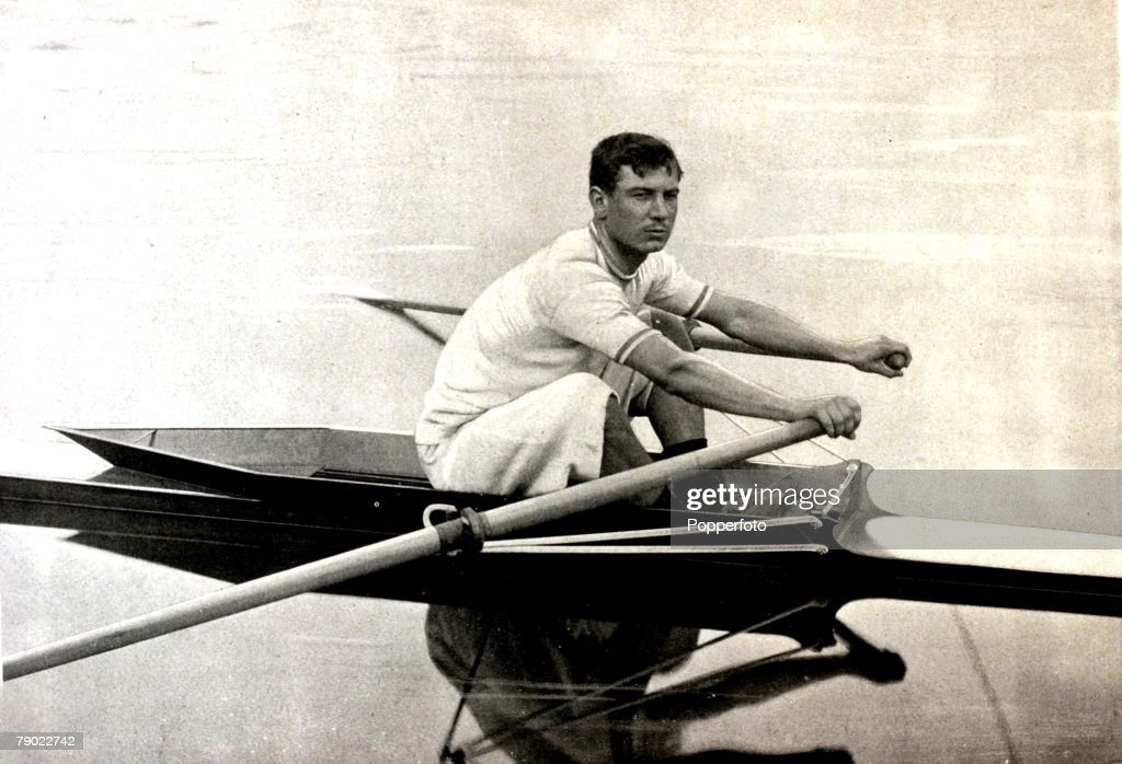 Sport. Rowing. 1900 Olympic Games. Paris, France. Louis Prevel, France, a champion rower in France,but failing to finish in the Single Sculls at the Paris Olympic Games. In that race he fell into the water claiming he had been knocked unfairly. : News Photo