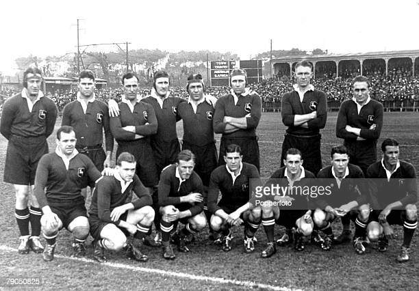 Sport Rugby Union 8th July 1933 Newlands Cape Town South Africa 17 v Australia 3 A group picture of the South Africa team back row Bergh Fanie Louw...