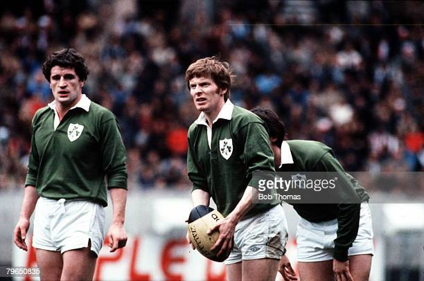 Sport Rugby Union Five Nations Championship Paris 20th March 1982 France 22 v Ireland 9 Ireland's Ollie Campbell prepares to kick for touch as John...