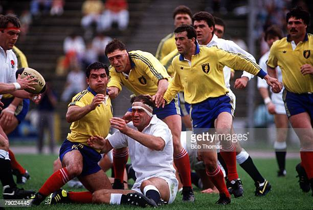 Sport Rugby Union International Bucharest Romania 13th May 1989 Romania 3 v England 58 England's Paul Ackford finds himself the centre of attention...
