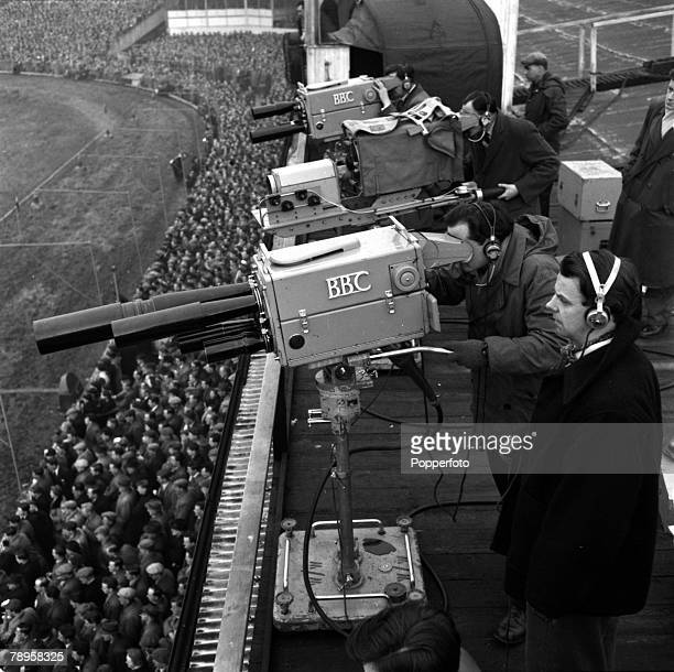 Sport Rugby Union International England 25th January 1955 England v Wales BBC Television camera crews are pictured at work during the game
