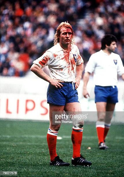 Sport Rugby Union International Five Nations Championship Paris 19th March 1983 France 16 v Wales 9 French captain JeanPierre Rives is covered in...