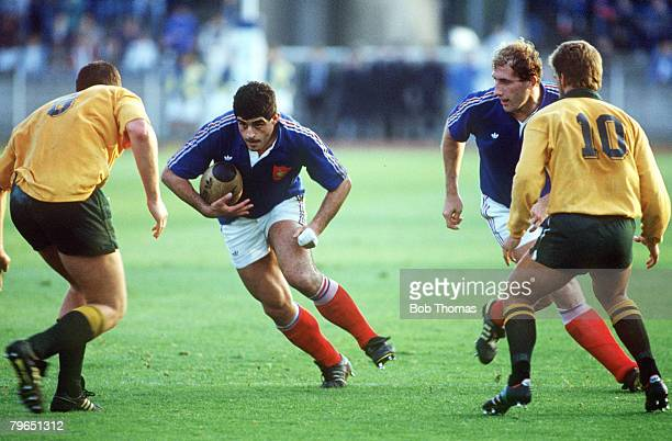 Sport Rugby Union International Match at Lille 11th November 1989 France 25 v Australia 19 France's Dominque Bouet has possession