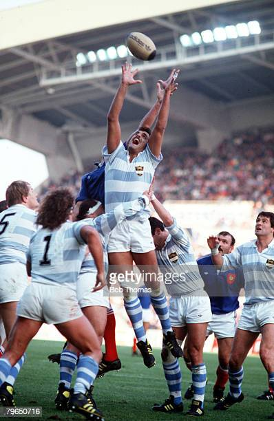 Sport Rugby Union International Nantes 5th November 1988 France 29 v Argentina 9 Argentina's Elyseo Branca jumps for the ball at a lineout