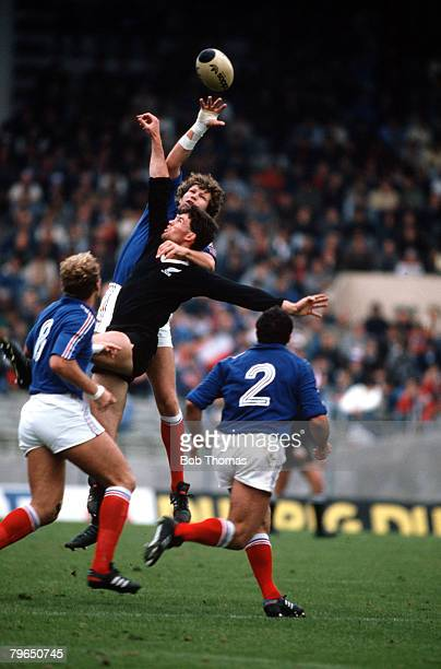 Sport Rugby Union International Toulouse 8th November 1986 France 7 v New Zealand 19 New Zealand's Mike Brewer jumps for a lineout with Eric Champ of...