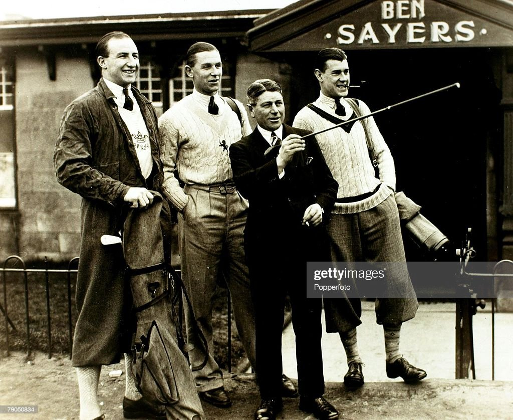 Sport. Rugby Union. March 1931. Scotland. (Left-right); England+s B.H. Black, C.D. Aarvold and J.S.R. Reeve about to play golf in the company of Ben Sayers prior to Rugby International v Scotland at Murrayfield. : Nachrichtenfoto