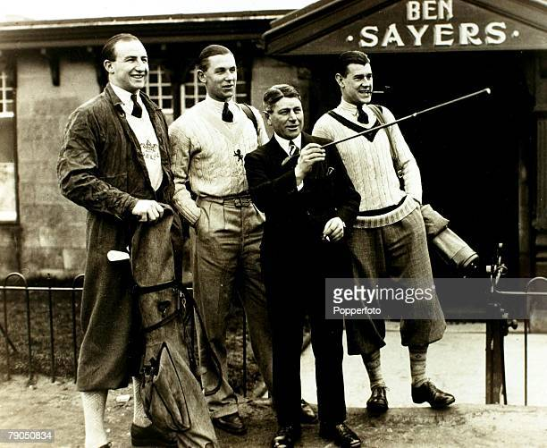 Sport Rugby Union March 1931 Scotland Englands BH Black CD Aarvold and JSR Reeve about to play golf in the company of Ben Sayers prior to Rugby...