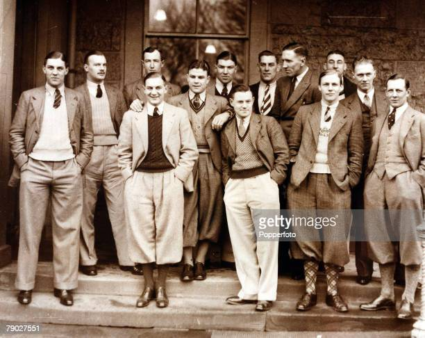 Sport Rugby Union North Berwick Scotland 16th March 1935 Members of the England team are pictured outside the Royal Hotel prior to the game against...