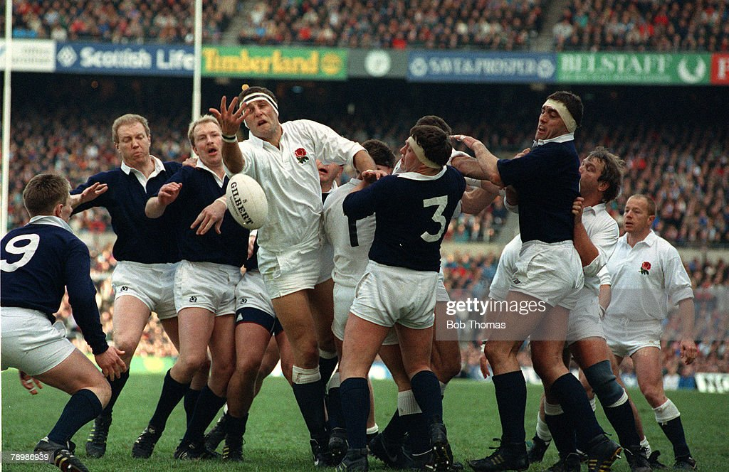 Sport. Rugby Union. pic: 16th March 1985. 5 Nations Championship at Twickenham. England 21. v Scotland 12. England's Wade Dooley tussles for the ball surrounded by the Scottish defence. : News Photo