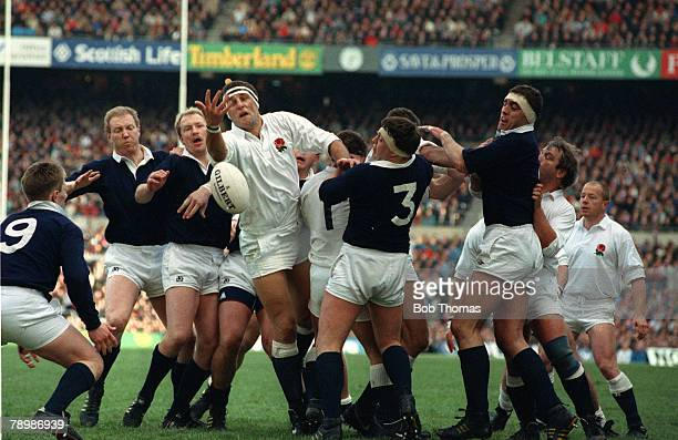 Sport, Rugby Union, pic: 16th March 1985, 5 Nations Championship at Twickenham, England 21, v Scotland 12, England's Wade Dooley tussles for the ball...
