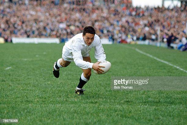 17th February 1990 5 Nations Championship at Twickenham England 34 v Wales 6 England wing Rory Underwood dives over to score the 2nd try Rory...