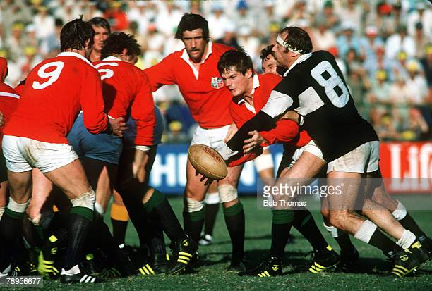 17th May 1980 Natal v British Lions British Lions Scottish forward John Beattie tries to feed the ball back to Terry Holmes despite being challenged