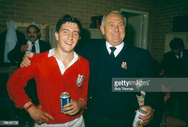 Sport, Rugby Union, pic: 1989, Lions Tour of Australia, British Lions scrum half Robert Jones with the tour manager Clive Rowlands