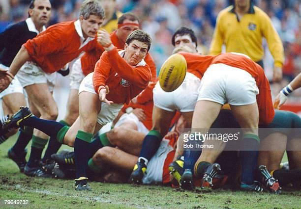 Sport, Rugby Union, pic: 1st July 1989, Lions Tour of Australia, 1st Test Match, Australia 30 v British Lions 12, British Lions scrum half Robert...