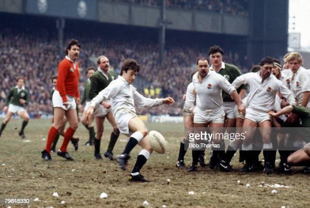 Sport, Rugby Union, pic: 1st March 1986, 5 Nations Championship at Twickenham, England 25 v Ireland 20, England scrum half Nigel Melville kicks as...