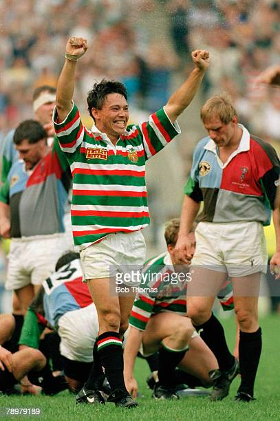1st May 1993 Pilkington Cup Final at Twickenham Harlequins 16 v Leicester 23 Leicester wing Rory Underwood celebrating victory Rory Underwood also...