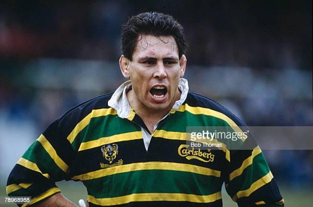 Sport, Rugby Union, pic: 23rd February 1991, Pilkington Cup Quarter Final, Northampton 10 v Moseley 6, Wayne Shelford, Northampton, who playing at no...