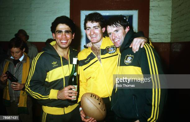 8th December 1984 International Match at Murrayfield Scotland 12 v Australia 37 Australia's lr Mark Ella David Campese and Andrew Slack celebrate...