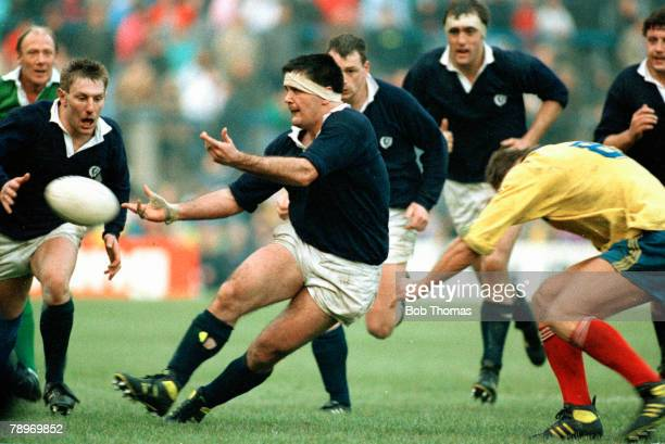 9th December 1989 International Match at Murrayfield Scotland 37 v Romania 0 Scotland captain David Sole passes the ball