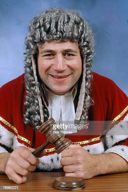circa 1990 England prop forward Paul Rendall known in the game as 'The Judge' acts out the part