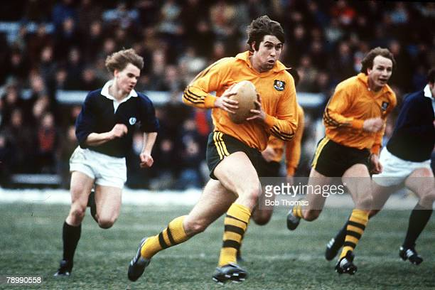 December 1981 International Match at Murrayfield Scotland 24 v Australia 15 Australia's Roger Gould races away with the ball