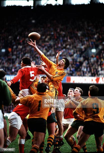 November 1984 International Match at Cardiff Wales 9 v Australia 28 Australia lock Steve Cutler outjumps Wales lock Robert Norster at the lineout