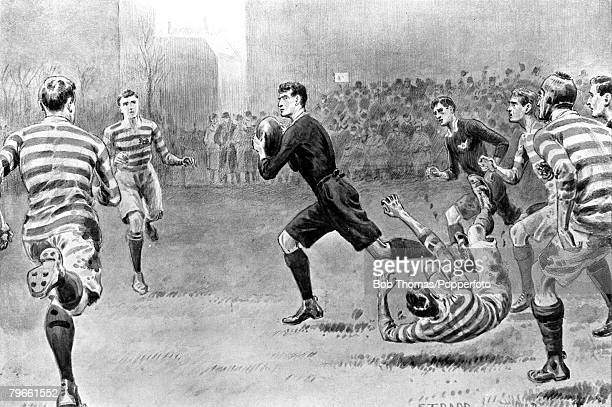 Sport Rugby Union Queens Club England December 1906 Oxford v Cambridge Oxford's Steinthal is pictured on the run which led to his sides fourth try
