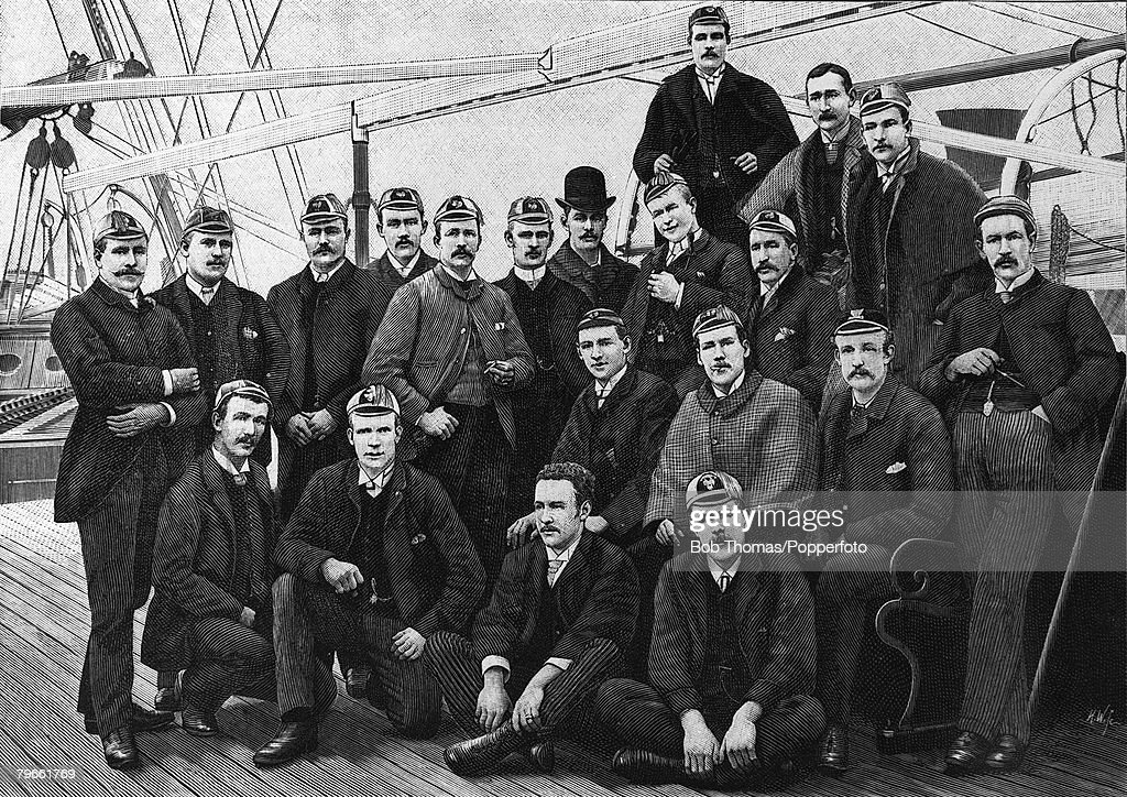 Sport, Rugby Union, 1888, The England Rugby Football team are pictured on board a ship bound for a tour of Australia : News Photo