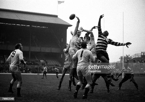 Sport Rugby Union Twickenham England 14th November 1970 Under25 International England 15 v Fiji 11 Action at a lineout during the match as England's...