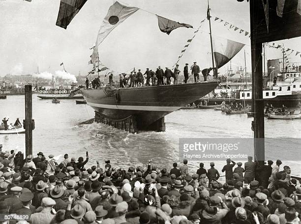 1934 The steel built cutter yacht Endeavour is launched at Gosport Portsmouth shortly before competing in the America's Cup The Endeavour was...
