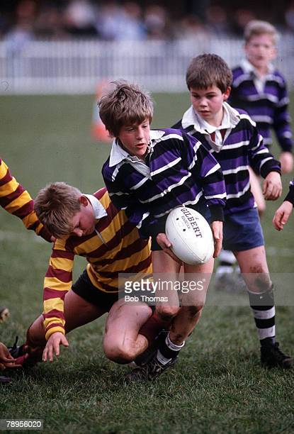 Sport Schoolboys Mini Rugby Franklins Gardens Northampton England 9th March 1988 Children in action during a match