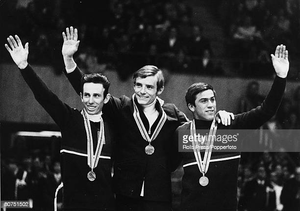 February 1968 1968 Winter Olympic Games GrenobleChamrousse French skier JeanClaude Killy centre Herbert Huberleft Austria Alfred Matt Bronze medal In...