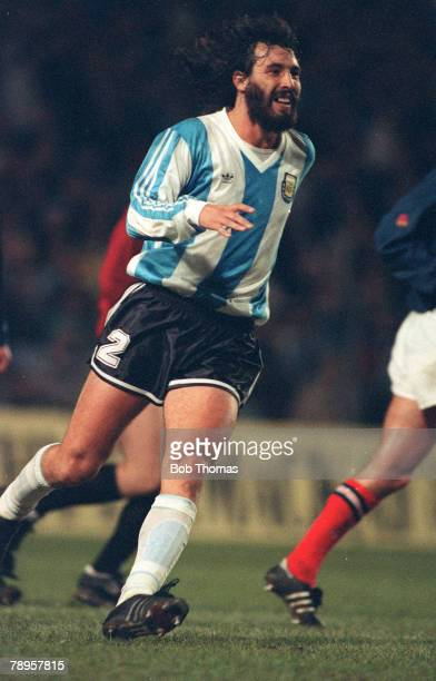 28th March 1990 Friendly International at Hampden Park Scotland 1 v Argentina 0 Sergio Batista Argentina