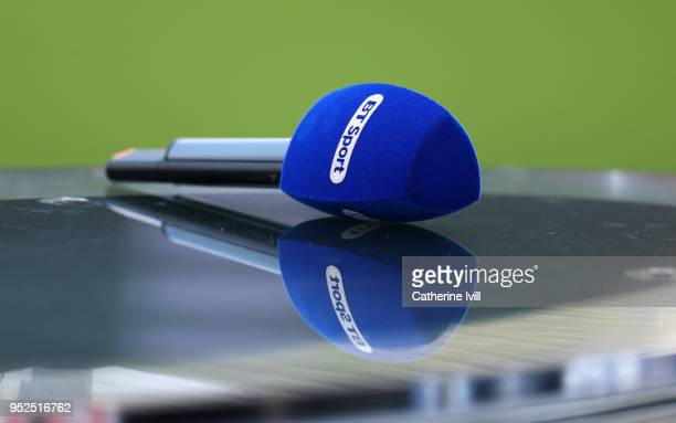 Sport television microphone prior to the Premier League match between Swansea City and Chelsea at Liberty Stadium on April 28 2018 in Swansea Wales