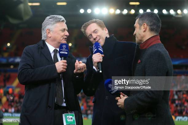 Sport television presenter Des Kelly interviews actor Damian Lewis and former Liverpool player Luis Garcia ahead of the UEFA Champions League Quarter...