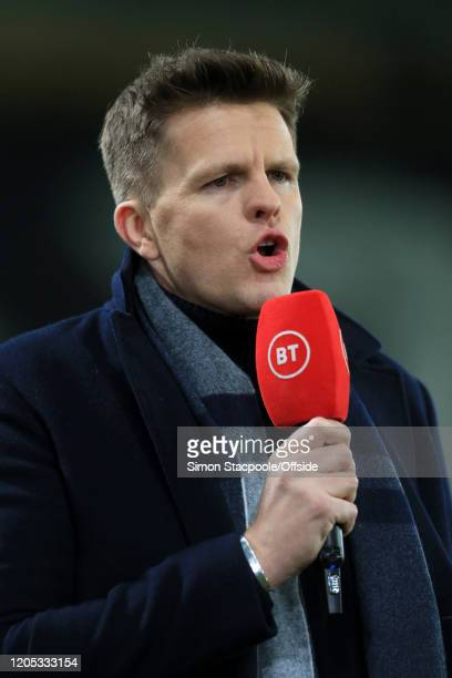 Sport television presenter Jake Humphrey holds the microphone during the FA Cup Fifth Round match between Derby County and Manchester United at Pride...