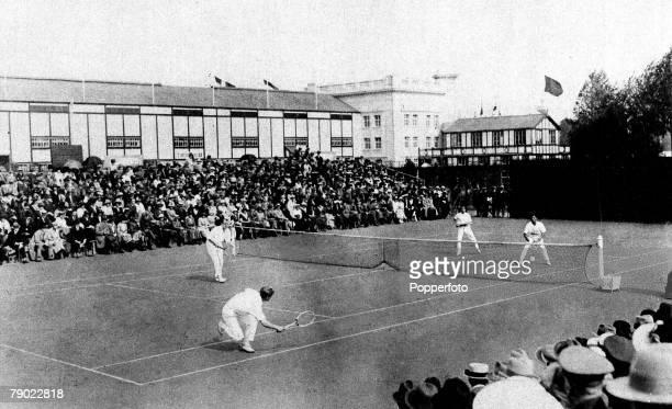 Sport Tennis 1920 Olympic Games Antwerp Belgium Mens Doubles Final Great Britain's Noel Turnbull and Max Woosnam nearside Gold medal beat Japan's...