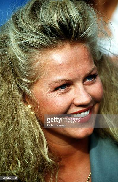 Sport Tennis 1992 USOpen Tennis Championships Flushing Meadow New York Annette Edberg wife of Swedish tennis star and 1992 Champion Stefan Edberg