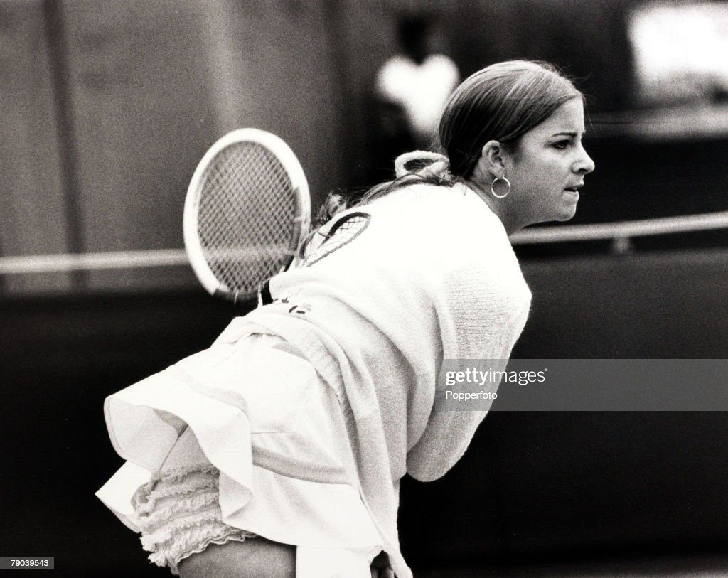 Sport. Tennis. 22nd June 1972. American star Chris Evert, showing her frilly knickers, playing at the Queens Club Rothmans tournament. Chris Evert was Wimbledon Ladies Singles Champion in 1974 and 1976. : News Photo