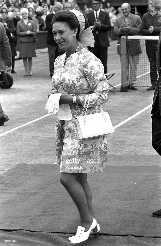 Sport, Tennis, All England Lawn Tennis Championships, Wimbledon, England, 3rd July 1970, Princess Margaret is pictured attending the tournament : News Photo