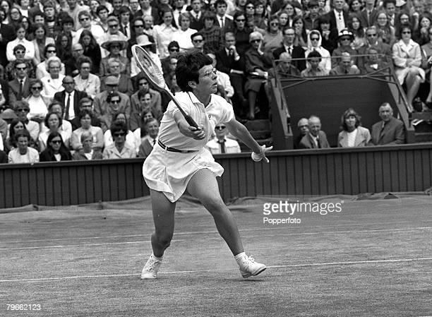 Sport Tennis All England Lawn Tennis Championships Wimbledon England 1st July 1970 Ladies Singles SemiFinal USA's Billie JeanKing is pictured during...