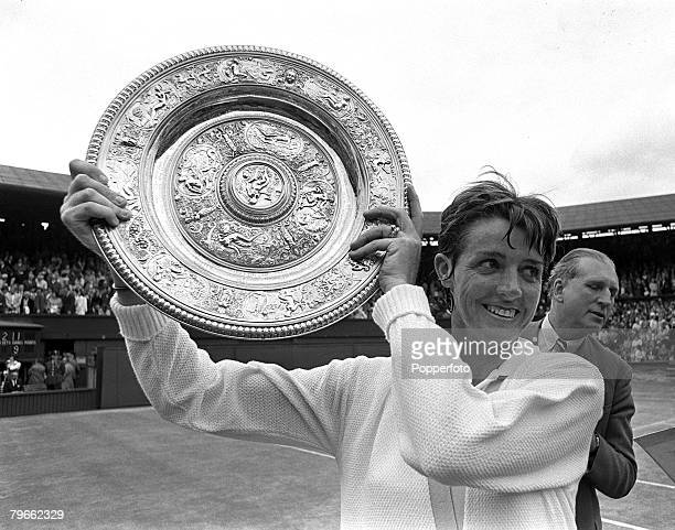 Sport Tennis All England Lawn Tennis Championships Wimbledon England 3rd July 1970 Ladies Singles Final Australia's Margaret Court holds the Ladies...