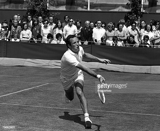 Sport, Tennis, All England Lawn Tennis Championships, Wimbledon, England, 22nd June 1970, Mens Singles, Holland's Tom Okker is pictured during his...