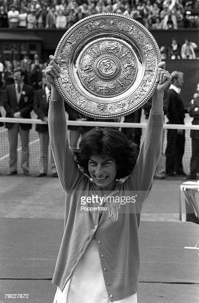Sport Tennis All England Lawn Tennis Championships Wimbledon London England 1st July 1977 Ladies Singles Final Great Britain's Virginia Wade holds...