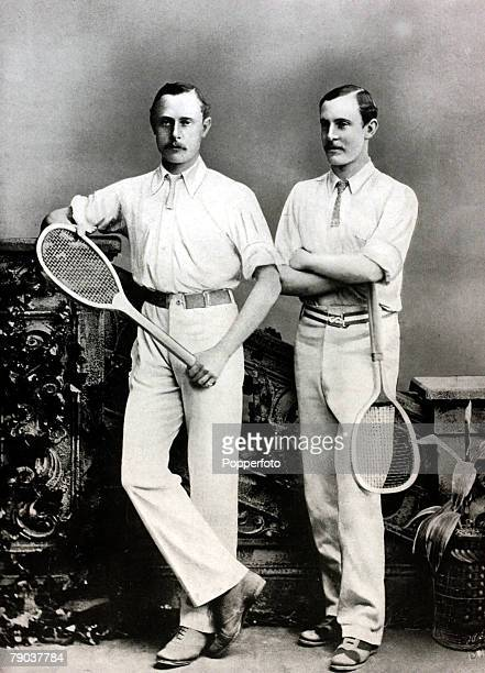 Sport, Tennis, All England Lawn Tennis Championships, Wimbledon, London, England, pic:1880, The Renshaw brothers William, and Ernest, who dominated...