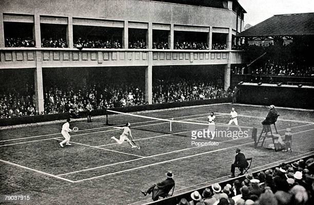 Sport, Tennis, All England Lawn Tennis Championships, Wimbledon, London, England France's Suzanne Lenglen and Jean Borotra, left, playing Holland's...
