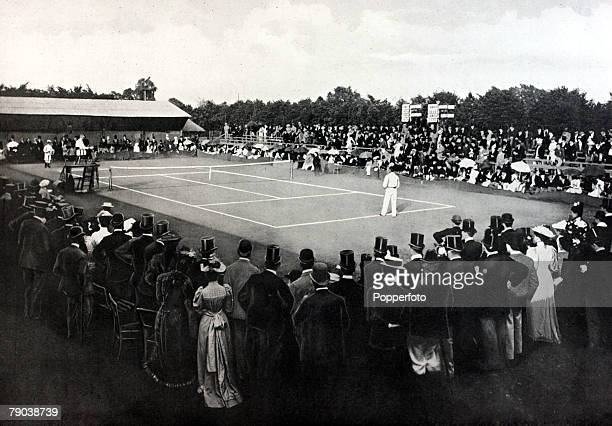 Sport Tennis All England Lawn Tennis Championships Wimbledon London England An illustration of the All comers Final between the winner Dr Joshua Pim...