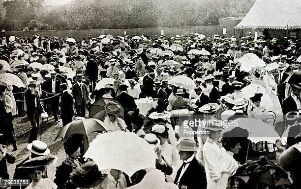 Sport Tennis All England Lawn Tennis Championships Wimbledon London England A social scene at Wimbledon as spectators take tea on the lawn