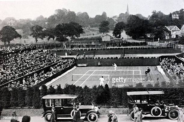 Sport, Tennis, All England Lawn Tennis Championships, Wimbledon, London, England A general view of the new Wimbledon, opened in 1922, looking over...