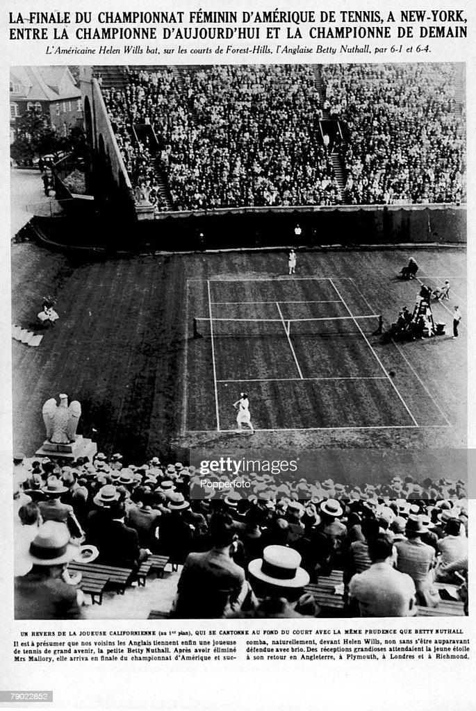 Sport. Tennis. American Tennis Championships. Forest Hills, New York, U.S.A. general view shows U.S.A.'s Helen Wills on her way to beating Great Britain's Betty Nuthall, 6-1, 6-4. September 1927. : News Photo